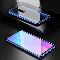 Handyhülle Hülle Luxus Aluminium Metall Rahmen Spiegel 360 Grad Tasche für Xiaomi Mi 9T Blau