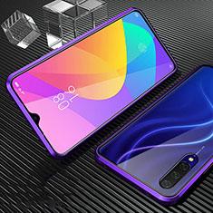 Handyhülle Hülle Luxus Aluminium Metall Rahmen Spiegel 360 Grad Tasche für Xiaomi Mi A3 Violett
