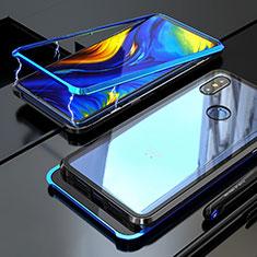 Handyhülle Hülle Luxus Aluminium Metall Rahmen Spiegel 360 Grad Tasche für Xiaomi Mi Mix 3 Blau