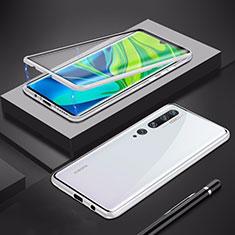 Handyhülle Hülle Luxus Aluminium Metall Rahmen Spiegel 360 Grad Tasche für Xiaomi Mi Note 10 Silber