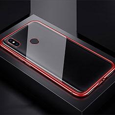 Handyhülle Hülle Luxus Aluminium Metall Rahmen Spiegel 360 Grad Tasche für Xiaomi Redmi Note 7 Pro Rot