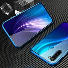 Handyhülle Hülle Luxus Aluminium Metall Rahmen Spiegel 360 Grad Tasche für Xiaomi Redmi Note 8 Blau