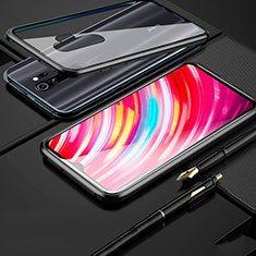 Handyhülle Hülle Luxus Aluminium Metall Rahmen Spiegel 360 Grad Tasche für Xiaomi Redmi Note 8 Pro Schwarz