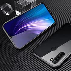 Handyhülle Hülle Luxus Aluminium Metall Rahmen Spiegel 360 Grad Tasche für Xiaomi Redmi Note 8 Schwarz