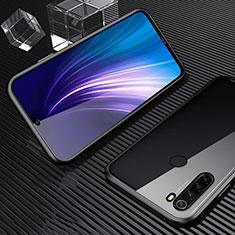 Handyhülle Hülle Luxus Aluminium Metall Rahmen Spiegel 360 Grad Tasche für Xiaomi Redmi Note 8T Schwarz