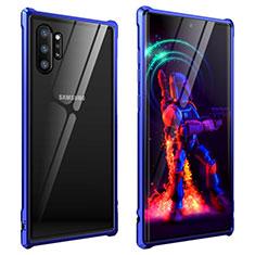 Handyhülle Hülle Luxus Aluminium Metall Rahmen Spiegel 360 Grad Tasche G01 für Samsung Galaxy Note 10 Plus Blau