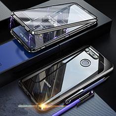 Handyhülle Hülle Luxus Aluminium Metall Rahmen Spiegel 360 Grad Tasche K01 für Huawei Honor V20 Schwarz