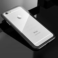 Handyhülle Hülle Luxus Aluminium Metall Rahmen Spiegel 360 Grad Tasche M01 für Apple iPhone 6S Plus Schwarz