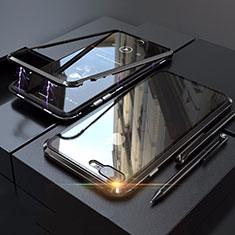 Handyhülle Hülle Luxus Aluminium Metall Rahmen Spiegel 360 Grad Tasche M01 für Apple iPhone 8 Plus Schwarz