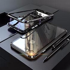 Handyhülle Hülle Luxus Aluminium Metall Rahmen Spiegel 360 Grad Tasche M01 für Apple iPhone SE (2020) Schwarz