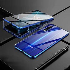 Handyhülle Hülle Luxus Aluminium Metall Rahmen Spiegel 360 Grad Tasche M01 für Huawei Honor 20 Blau