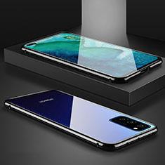 Handyhülle Hülle Luxus Aluminium Metall Rahmen Spiegel 360 Grad Tasche M01 für Huawei Honor View 30 5G Schwarz