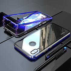 Handyhülle Hülle Luxus Aluminium Metall Rahmen Spiegel 360 Grad Tasche M01 für Huawei Nova 3i Blau