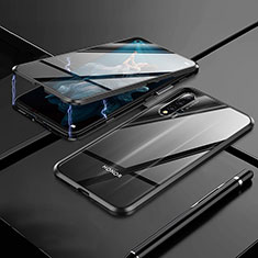 Handyhülle Hülle Luxus Aluminium Metall Rahmen Spiegel 360 Grad Tasche M01 für Huawei Nova 5T Schwarz