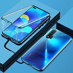 Handyhülle Hülle Luxus Aluminium Metall Rahmen Spiegel 360 Grad Tasche M01 für Huawei Nova 6 5G Blau
