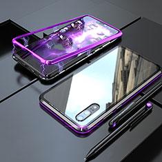 Handyhülle Hülle Luxus Aluminium Metall Rahmen Spiegel 360 Grad Tasche M01 für Huawei P20 Violett