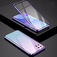 Handyhülle Hülle Luxus Aluminium Metall Rahmen Spiegel 360 Grad Tasche M01 für Huawei P40 Lite Violett