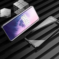 Handyhülle Hülle Luxus Aluminium Metall Rahmen Spiegel 360 Grad Tasche M01 für OnePlus 7T Pro 5G Schwarz