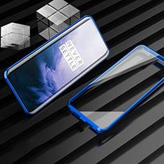 Handyhülle Hülle Luxus Aluminium Metall Rahmen Spiegel 360 Grad Tasche M01 für OnePlus 7T Pro Blau
