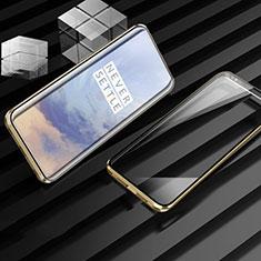 Handyhülle Hülle Luxus Aluminium Metall Rahmen Spiegel 360 Grad Tasche M01 für OnePlus 7T Pro Gold