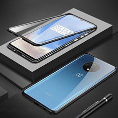 Handyhülle Hülle Luxus Aluminium Metall Rahmen Spiegel 360 Grad Tasche M01 für OnePlus 7T Schwarz