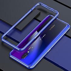 Handyhülle Hülle Luxus Aluminium Metall Rahmen Spiegel 360 Grad Tasche M01 für Oppo A9 Blau