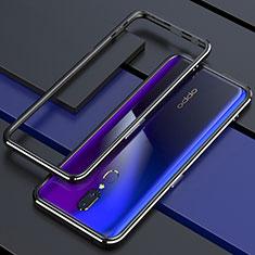 Handyhülle Hülle Luxus Aluminium Metall Rahmen Spiegel 360 Grad Tasche M01 für Oppo A9 Schwarz