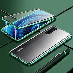 Handyhülle Hülle Luxus Aluminium Metall Rahmen Spiegel 360 Grad Tasche M01 für Oppo Find X2 Grün