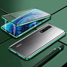 Handyhülle Hülle Luxus Aluminium Metall Rahmen Spiegel 360 Grad Tasche M01 für Oppo Find X2 Pro Grün