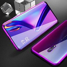 Handyhülle Hülle Luxus Aluminium Metall Rahmen Spiegel 360 Grad Tasche M01 für Oppo K3 Violett