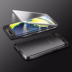 Handyhülle Hülle Luxus Aluminium Metall Rahmen Spiegel 360 Grad Tasche M01 für Samsung Galaxy A80 Schwarz