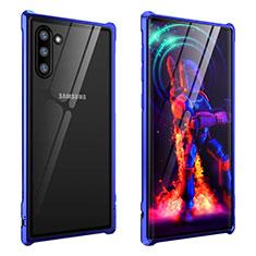 Handyhülle Hülle Luxus Aluminium Metall Rahmen Spiegel 360 Grad Tasche M01 für Samsung Galaxy Note 10 Blau