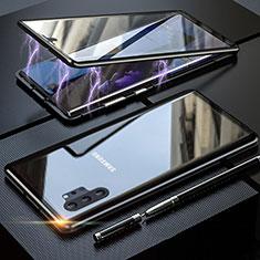 Handyhülle Hülle Luxus Aluminium Metall Rahmen Spiegel 360 Grad Tasche M01 für Samsung Galaxy Note 10 Plus Schwarz