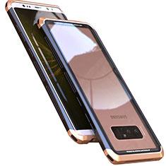 Handyhülle Hülle Luxus Aluminium Metall Rahmen Spiegel 360 Grad Tasche M01 für Samsung Galaxy Note 8 Gold