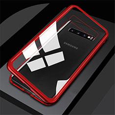 Handyhülle Hülle Luxus Aluminium Metall Rahmen Spiegel 360 Grad Tasche M01 für Samsung Galaxy S10 Rot