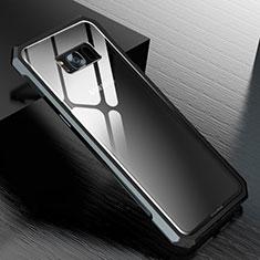 Handyhülle Hülle Luxus Aluminium Metall Rahmen Spiegel 360 Grad Tasche M01 für Samsung Galaxy S8 Schwarz