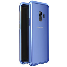 Handyhülle Hülle Luxus Aluminium Metall Rahmen Spiegel 360 Grad Tasche M01 für Samsung Galaxy S9 Blau