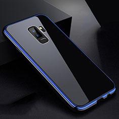 Handyhülle Hülle Luxus Aluminium Metall Rahmen Spiegel 360 Grad Tasche M01 für Samsung Galaxy S9 Plus Blau und Schwarz