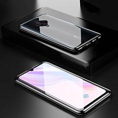 Handyhülle Hülle Luxus Aluminium Metall Rahmen Spiegel 360 Grad Tasche M01 für Vivo X50 Lite Schwarz