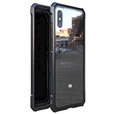 Handyhülle Hülle Luxus Aluminium Metall Rahmen Spiegel 360 Grad Tasche M01 für Xiaomi Mi 8 Schwarz