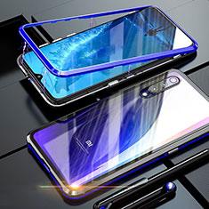 Handyhülle Hülle Luxus Aluminium Metall Rahmen Spiegel 360 Grad Tasche M01 für Xiaomi Mi 9 Blau