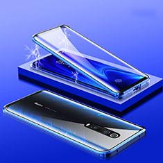 Handyhülle Hülle Luxus Aluminium Metall Rahmen Spiegel 360 Grad Tasche M01 für Xiaomi Mi 9T Pro Blau