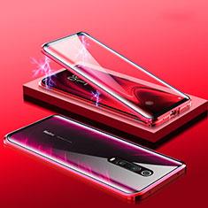 Handyhülle Hülle Luxus Aluminium Metall Rahmen Spiegel 360 Grad Tasche M01 für Xiaomi Mi 9T Rot