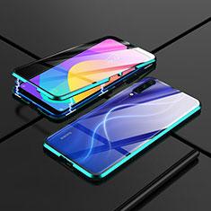 Handyhülle Hülle Luxus Aluminium Metall Rahmen Spiegel 360 Grad Tasche M01 für Xiaomi Mi A3 Grün