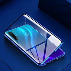 Handyhülle Hülle Luxus Aluminium Metall Rahmen Spiegel 360 Grad Tasche M01 für Xiaomi Redmi Note 8 Blau