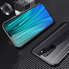 Handyhülle Hülle Luxus Aluminium Metall Rahmen Spiegel 360 Grad Tasche M01 für Xiaomi Redmi Note 8 Pro Schwarz