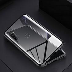 Handyhülle Hülle Luxus Aluminium Metall Rahmen Spiegel 360 Grad Tasche M01 für Xiaomi Redmi Note 8T Schwarz