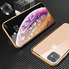 Handyhülle Hülle Luxus Aluminium Metall Rahmen Spiegel 360 Grad Tasche M02 für Apple iPhone 11 Gold