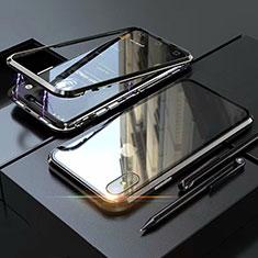 Handyhülle Hülle Luxus Aluminium Metall Rahmen Spiegel 360 Grad Tasche M02 für Apple iPhone X Schwarz
