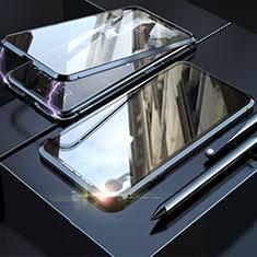 Handyhülle Hülle Luxus Aluminium Metall Rahmen Spiegel 360 Grad Tasche M02 für Apple iPhone XR Schwarz